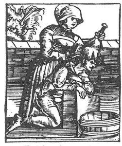 Holzschnitt und Text von Plinius über Kopfläuser