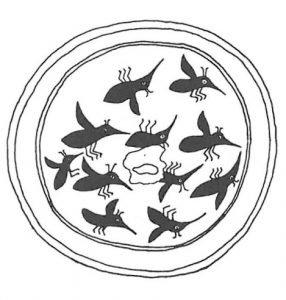 Topf mit Mücken dekoriert von dem 1200-Zahl